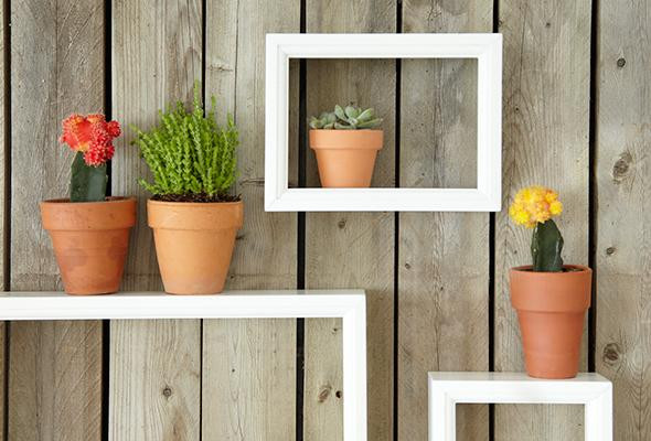 Shadow Boxes for outdoor yard fence wood or vinyl decorate with flower pots on fence