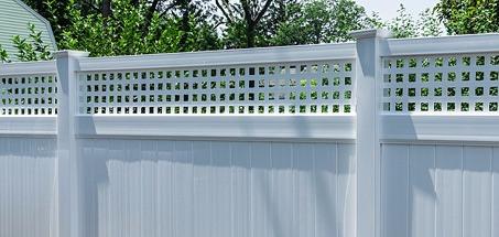 Vinyl PVC Privacy Fence Installation with Topper Accent Square Modern Square Lattice
