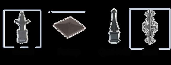 Aluminum Metal Iron Accessories Tri-Finial Postcap Quad-Finial and Scroll