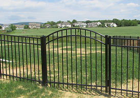 Aluminum Metal Iron Fence Arched Gate with exposed top pickets