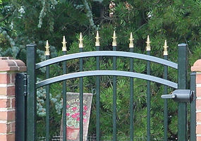 Aluminum Metal Iron Fence with Arched Gate and Gold Finial Accessories