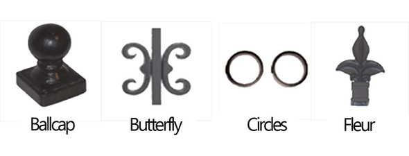 Aluminum Metal Iron Fence Accessories Ballcap Butterfly Circles and Fleur Finial