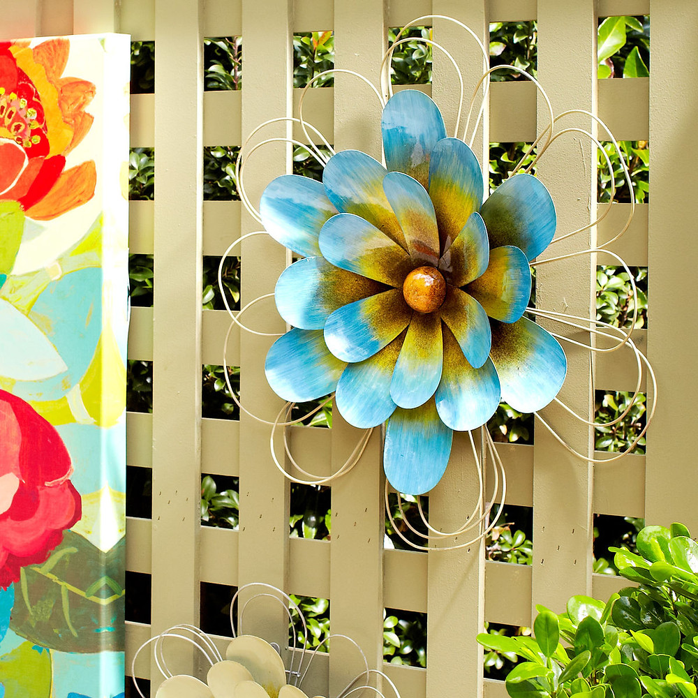 Outdoor Wall Fence Art Metal Flower hang on fence decorate fence vinyl pvc wood aluminum