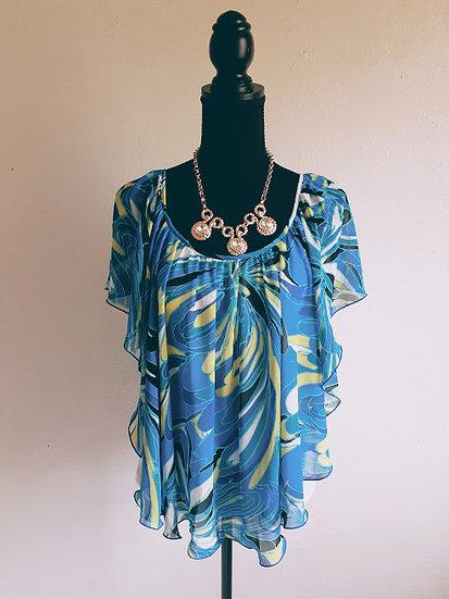 Blue Floral Poncho Blouse