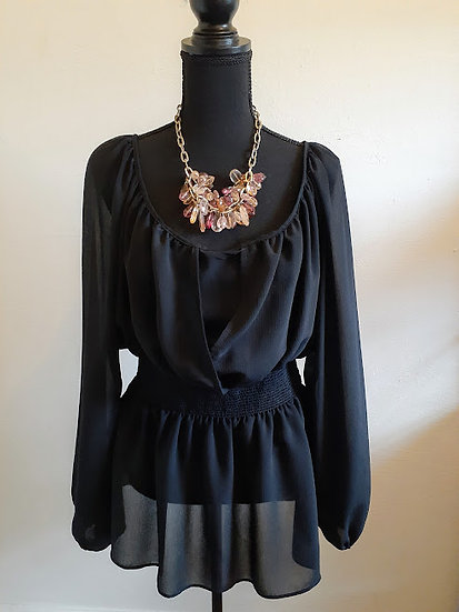 The Little Things by Colleen Lopez Black Sheer Blouse