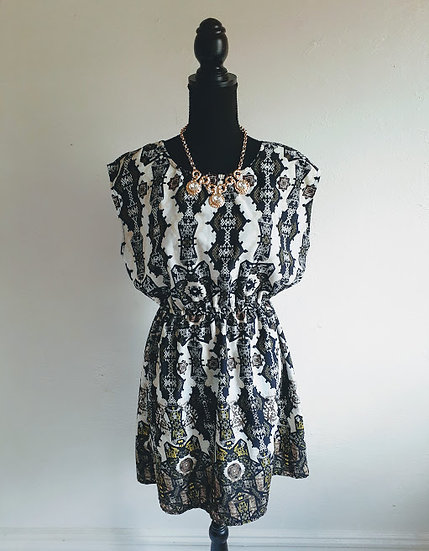 Dots Shirred Waist Dress