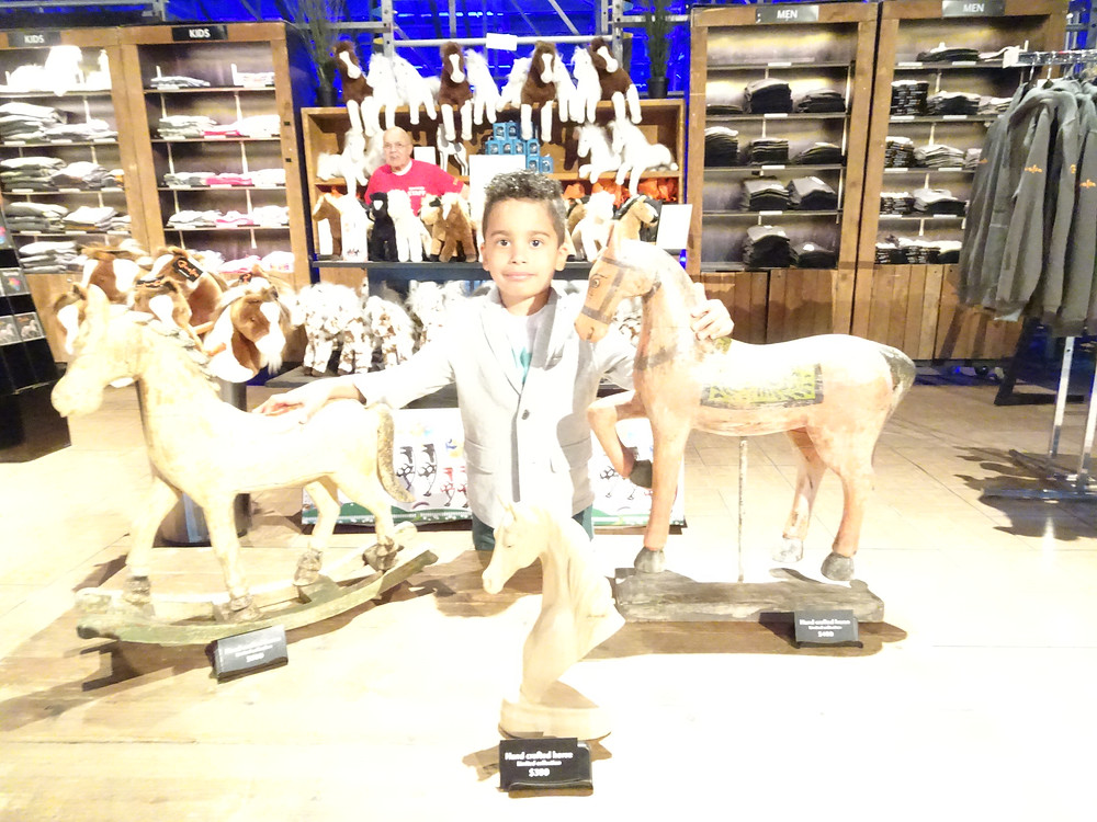Princeton asked to have his picture taken with these horses at the giftshop at Cavallia Odysseo in Camarillo, CA