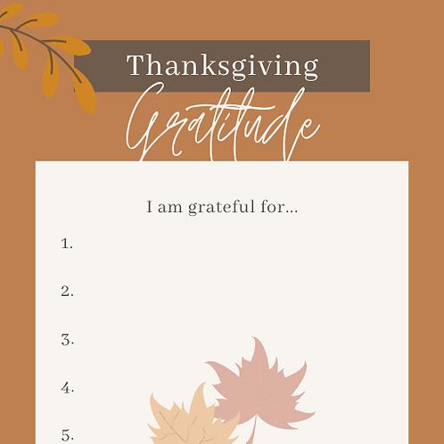 Thanksgiving Gratitude Printable