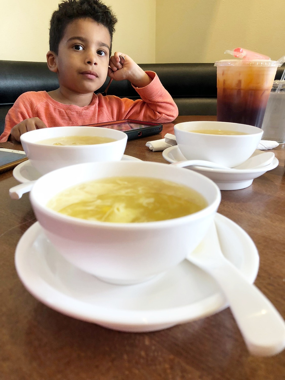 Corn Egg Soup and Thai Ice Tea