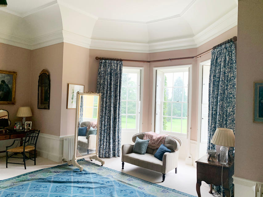 Finished Bay With Linen Curtains