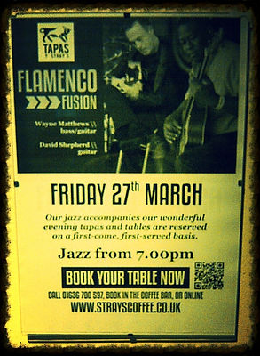 """Flamenco Jazz Fusion"" ""Strays Coffe"" ""Wayne Matthews Bass"" ""David Shepherd"" ""Tony Shepherd"""