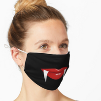 Lipped facemask with fangs