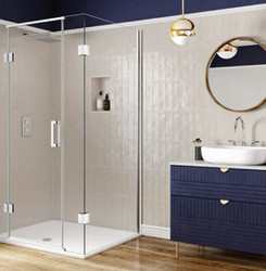 Combining contemporary styling and functionality, spans of 10mm toughened glass bring a sense of space and light to the bathroom.