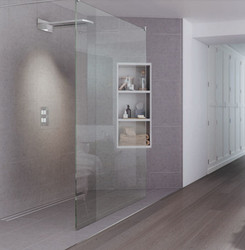 Double entry shower screen. Complete with polished chrome steady bars, for an added design highlight choose from one of our tinted glass options or modern etched glass designs.