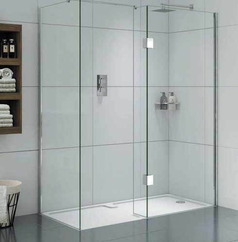 Walk-in enclosures have been innovatively designed to create luxurious showering areas, with a fixed panel to keep overspray to a minimum.