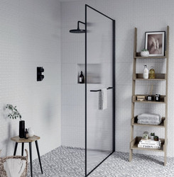 Reeded Glass Wetroom Panel  A stylish wet room panel, with textured reeded glass also providing modesty in the showering area.