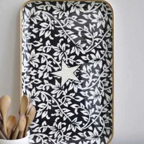 Tablett 27 x 42 cm, Black Flower