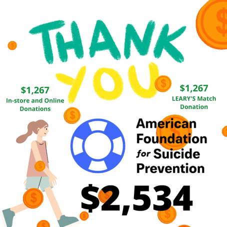 American Foundation for Suicide Prevention Walk and Donation Totals