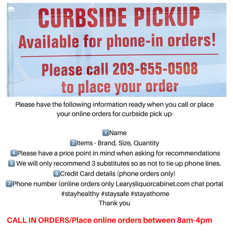 Place curbside orders between 8 am to 4pm