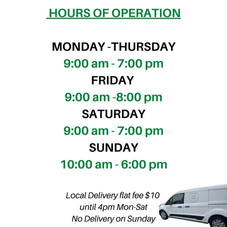 Deliveries Mon-Sat until 4 PM