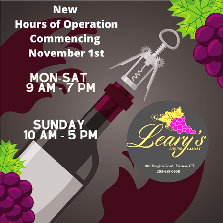 🕘 New Hours of Operation 🕖Commencing Sunday, November 1st