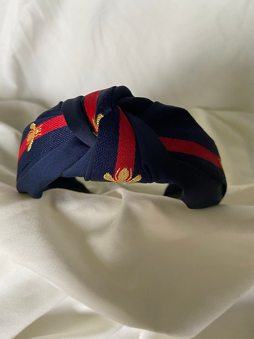 Navy Bee Headband