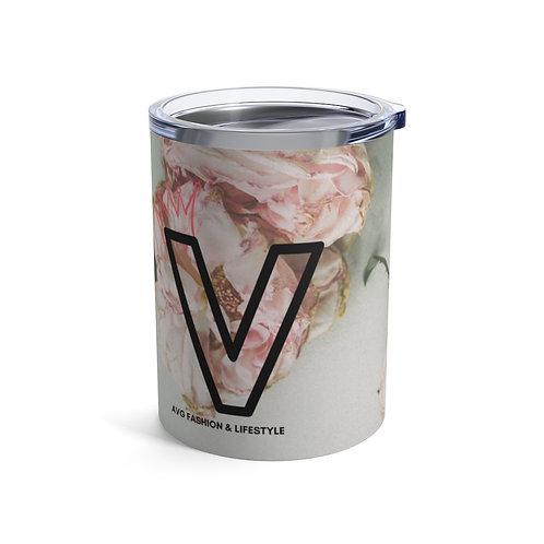 V With Crown Floral Tumbler 10oz