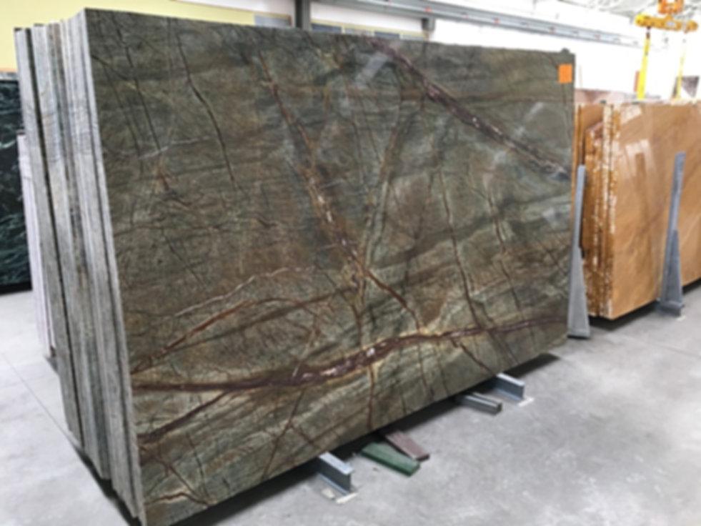 Pizzul - Rainforest Green marble slabs.j