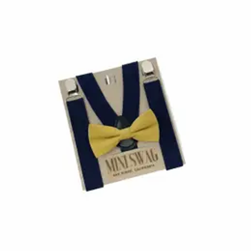 Mustard Bowtie+ Navy Suspenders