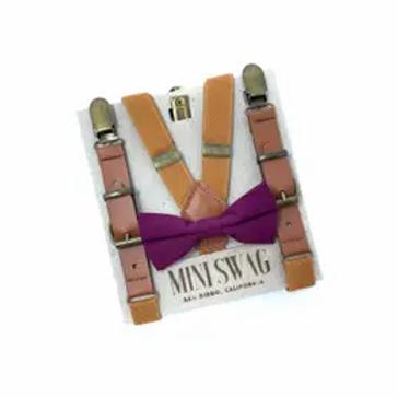 Plum Bowtie +Leather Suspenders