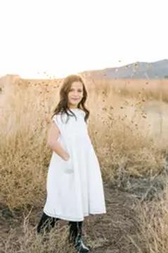 White Linen Embroidered Dress