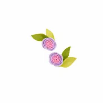 Lilac Felt Pigtail Clip Set