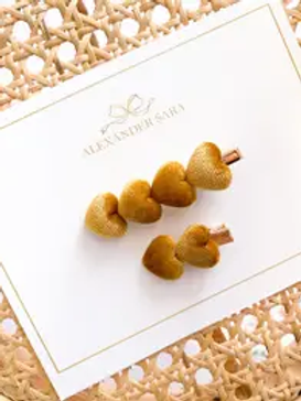 Mommy and Me Mustard Heart Clip Set