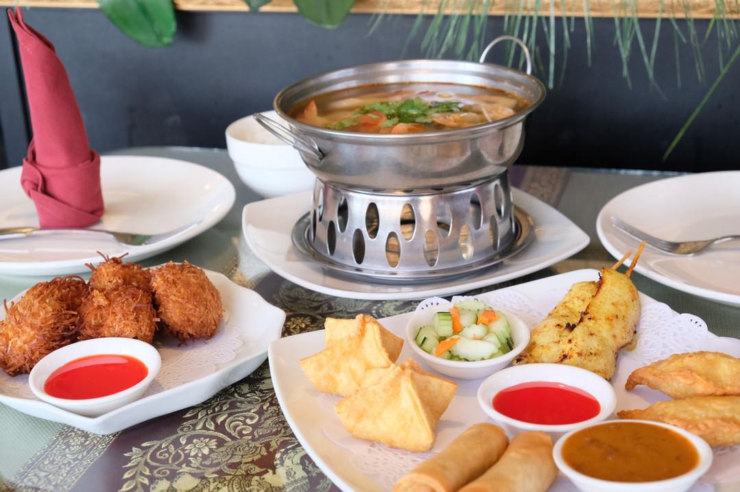 Coconut Shrimp, Tom Yum and Simply Thai Platter