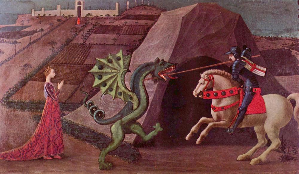 San Jorge lucha contra el dragón en una escena semejante a la que describe la leyenda asturiana del cuélebre