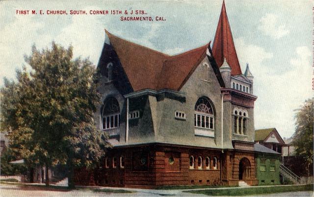 First M. E. Church, South, Corner 15th & J Sts., Sacramento, California.