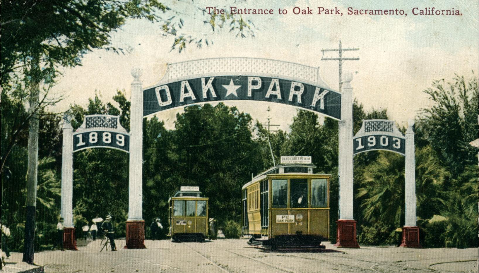 Entrance to Oak Park, Sacramento, California