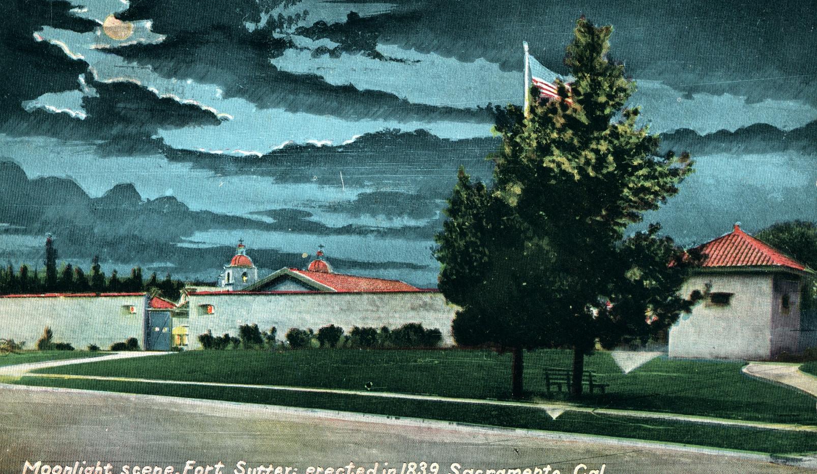 Moonlight Scene, Fort Sutter; 1839. Sacramento, California