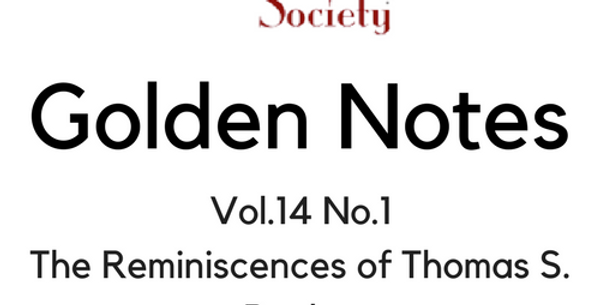 Vol.14 No.1 The Reminiscences of Thomas S. Bayley (Digital Copy)