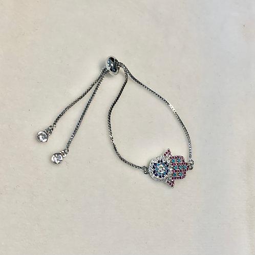 Silver Cubic Zirconia Hamsa Bracelet