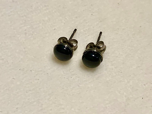 Obsidian 6mm Earrings