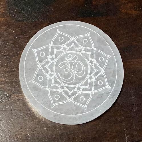 Om Selenite Circular Charging Plate