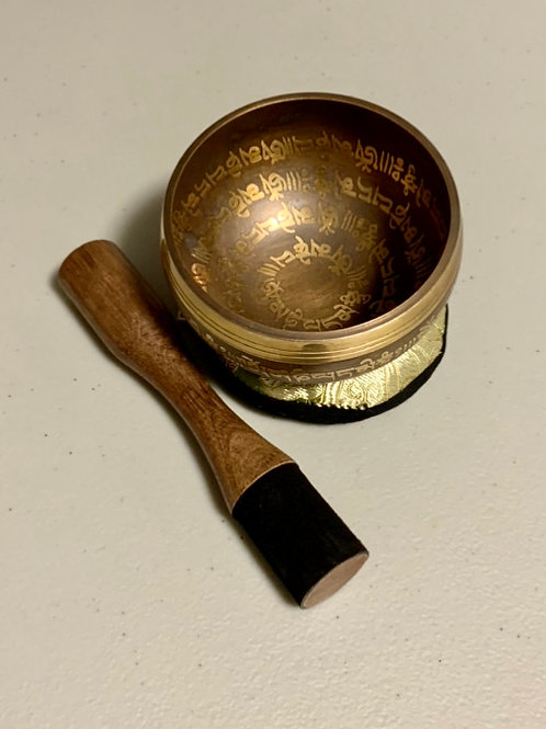 4 Inch Tibetan Singing Bowl, Pillow And Mallet