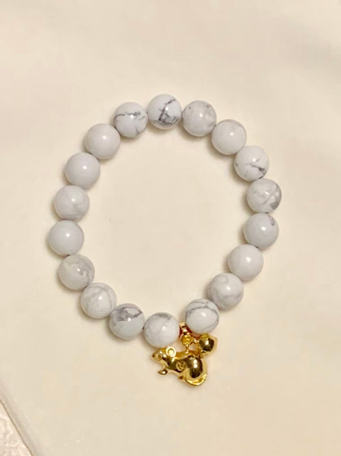 Howlite Bracelet With Lucky Rat Charm