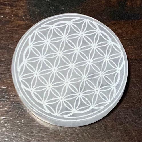 Flower Of Life Selenite Circular Charging Plate
