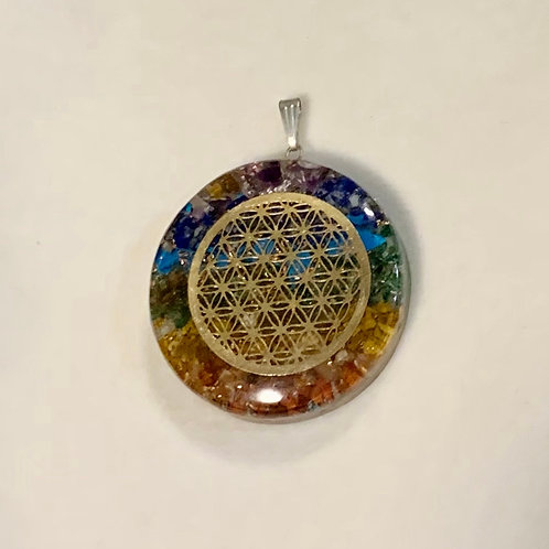 Flower Of Life Crushed Crystal Pendant