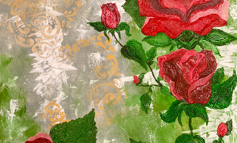 Roses - 24X24 Textured Acrylic on Gallery Canvas