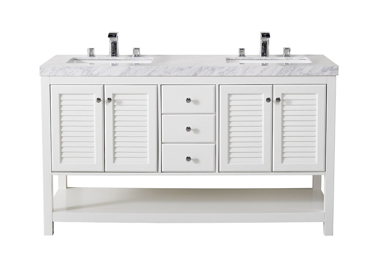 "Luthor 60"" White Double Sink Vanity with Drains and Faucets in Chrome"