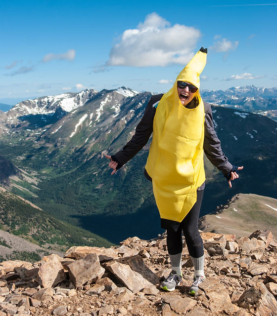 me wearing a banana suit at the Mt. Elbert Summit