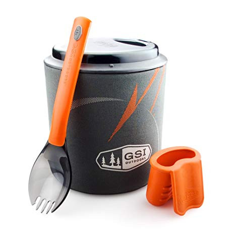 GSI Halulite Minimalist pot with lid, cozy, spork, and pot grippy